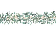 Elegant seamless border from roses and eucalyptus branches. Floral garland. Vector illustration. Elegant seamless border from roses and eucalyptus branches stock illustration