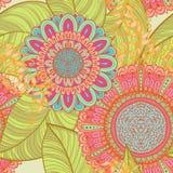 Elegant seamless bright floral background. Elegant hand drawn seamless retro bright floral background Stock Photo