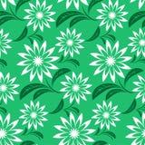 Elegant seamless Flower Pattern on green Stock Images
