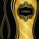 Elegant seamless gold wallpaper with vintage frame Royalty Free Stock Image