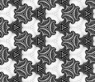 Elegant seamless ornamental pattern of fractal shapes in black, grey and white shades Stock Photography