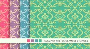 Elegant seamless pastel background set botanic curve frame flower Stock Photo