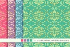 Elegant seamless pastel background set botanic spiral curve frame Stock Images
