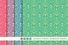 Elegant seamless pastel background set curve cross frame flower Stock Photos
