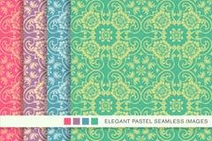 Elegant seamless pastel background set curve cross spiral frame flower Royalty Free Stock Photography