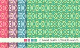 Elegant seamless pastel background set curve spiral round frame Stock Image