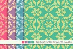 Elegant seamless pastel background set feather polygon spiral flower Royalty Free Stock Photos