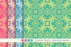 Elegant seamless pastel background set mosaic square cross geometry Royalty Free Stock Photos