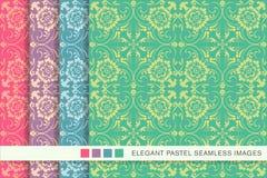 Elegant seamless pastel background set spiral cross leaf flower Stock Images