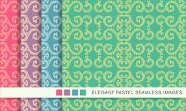 Elegant seamless pastel background set spiral round curve frame Stock Images