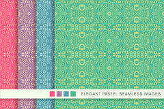 Elegant seamless pastel background set star geometry cross flower Royalty Free Stock Photography