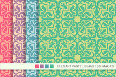 Elegant seamless pastel background set star geometry kaleidoscope Stock Images
