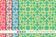 Elegant seamless pastel background set star kaleidoscope geometry Royalty Free Stock Photos