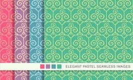 Elegant seamless pastel background set trefoil curve spiral cross Stock Photo