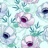 Elegant seamless pattern with anemones Royalty Free Stock Photography