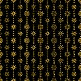 Elegant Seamless pattern with Christmas decorations. Garland from snowflakes with gold glitter on a black background. Texture for print, wallpaper, home decor stock illustration