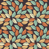 Elegant seamless pattern with colorful leaves on purple backgrou Stock Photography