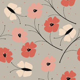 Elegant seamless pattern with colorful poppy flowers and butterf Royalty Free Stock Photo