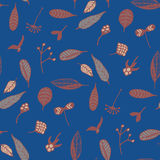 Elegant seamless pattern with floral elements on trendy blue background Stock Image