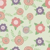 Elegant seamless pattern with flowers hand drawn Royalty Free Stock Images