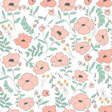 Elegant seamless pattern with flowers, vector illustration Royalty Free Stock Images