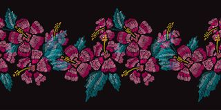 Embroidery floral seamless pattern Stock Image