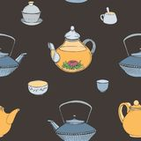 Elegant seamless pattern with hand drawn traditional Japanese tea ceremony attributes - cast-iron kettle Tetsubin Stock Images