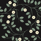 Elegant seamless pattern with ivory flowers and green leaves on Royalty Free Stock Images