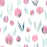 Elegant seamless pattern with oil painted red tulip flowers Royalty Free Stock Image