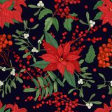 Elegant seamless pattern with parts of winter plants - poinsettia, mistletoe, branches of rowan tree with berries, holly. Leaves. Hand drawn vector illustration Royalty Free Stock Images