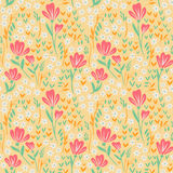 Elegant seamless pattern with pink, yellow and. Seamless pattern with leaves and flowers, decorative floral texture Stock Photo