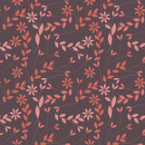 Elegant seamless pattern with plants, leaves and flowers. Can be used for design fabric, backgrounds, wrapping paper, package, covers, linen and more designs royalty free illustration