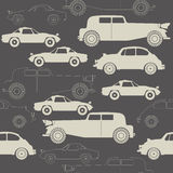 Elegant seamless pattern with retro cars on grey background Stock Photography