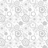 Elegant seamless pattern with silver flowers Stock Images