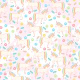 Elegant seamless pattern with sweet donuts and unicorns. Stock Image
