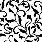 Elegant seamless pattern. Tracery of swirls and decorative leave Royalty Free Stock Image