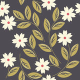 Elegant seamless pattern with white flowers Stock Photo