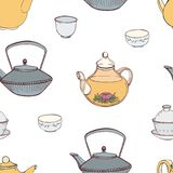 Elegant Seamless Pattern With Hand Drawn Traditional Japanese Tea Ceremony Attributes - Cast-iron Kettle Tetsubin