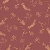 Elegant seamless pattern with yellow floral elements on bordo background Royalty Free Stock Photography