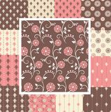 Elegant seamless patterns in pink and brown colors Royalty Free Stock Image