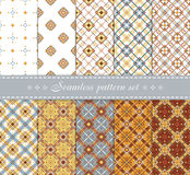 Elegant  seamless patterns. Retro blue, brown, beige and white colors. Stock Photos