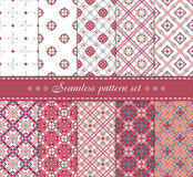Elegant  seamless patterns. Retro blue, brown, beige and white colors. 10 Elegant  seamless patterns. Retro blue, pastel pink and white colors. Endless texture Stock Image