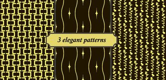 3 elegant seamless patterns. Set of 3 elegant seamless patterns. Black and yellow colors Stock Images