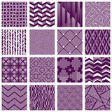 Set of intricate lined patterns. 16 elegant seamless purple and white patterns with designs made of small lines. Graphics are grouped and in several layers for royalty free illustration