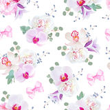Elegant seamless vector print in purple, pink and white tones with bows. Stock Photos
