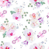 Elegant seamless vector print in purple, pink and white tones Stock Photo