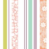 Elegant seamless vertical stripe pattern with flowers, doilies in colorful pastel colors. stock illustration