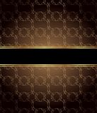 Elegant seamless wallpaper with golden fine decoration and place for your text.  Stock Photography
