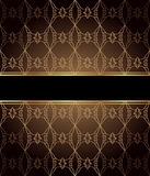 Elegant seamless wallpaper with golden fine decoration and place for your text. Stock Photo