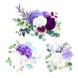 Elegant seasonal dark flowers vector design wedding bouquets. Purple and violet rose, white and lilac hydrangea,eucalyptus, iris,ranunculus, succulents,greenery Stock Illustration